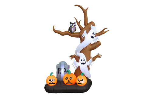 9 Foot Halloween Inflatable Tree, Ghost, Pumpkin and Tombstone