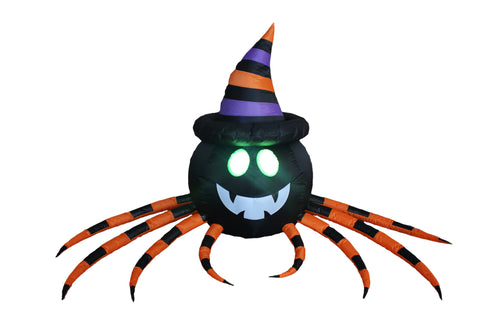 8 Foot Long Halloween Inflatable Spider with Hat