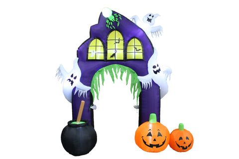 9 Foot Halloween Inflatable Castle Arch with Pumpkin & Ghost
