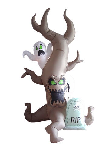 8 Foot Halloween Inflatable Grave Scene with Tree Monster and Ghost