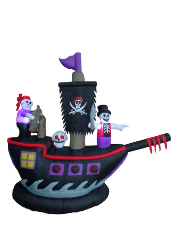 7 Foot Halloween Inflatable Pirate Ship with Skeleton