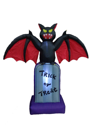 5 Foot Halloween Inflatable Bat on Tombstone