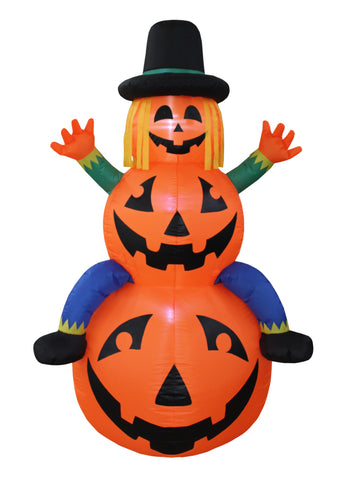 6 Foot Tall Happy Thanksgiving Inflatable Scarecrow on Pumpkins Yard Art Indoor Outdoor Decoration