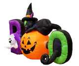 6 Foot Long Lighted Halloween Inflatable Black Cat Ghost Pumpkin BOO Cute Indoor Outdoor Lawn Yard Art Decoration