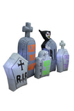 7 Foot Long Lighted Halloween Inflatable Tombstones Pathway Scene Haunted House Prop Grim Reaper Indoor Outdoor Yard Decoration