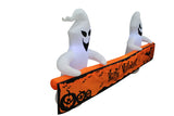 8 Foot Long Lighted Halloween Inflatable White Ghosts with Orange Banner Indoor Outdoor Garden Yard Art Prop Decoration