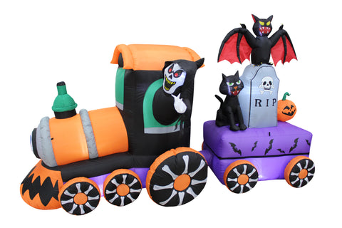 8 Foot Long Halloween Inflatable Reaper Drive Train with Tombstone and Bat and Cat Indoor Outdoor Yard Decoration