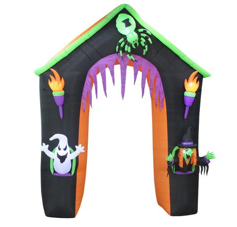 9 Foot Tall Halloween Inflatable Haunted House Archway With Ghost, Witch and Spider