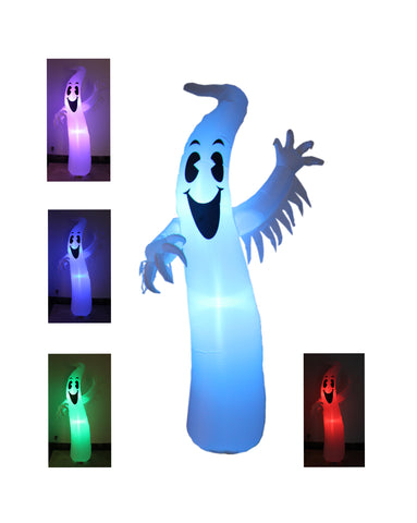 8 Foot Tall Lighted Halloween Inflatable Ghost Monster with Color Changing LEDs Yard Decoration