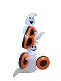 6 Foot Tall Halloween LED Inflatable Friendly White Ghosts and Orange BOO