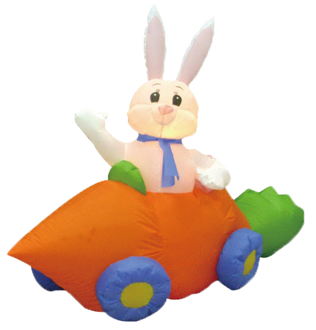 5 Foot Long Bunny in Carrot Car