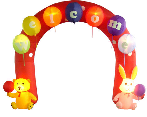 9 Foot Easter Inflatable Archway with Rabbit and Bear