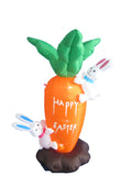 4 Foot Tall Easter Inflatable Party Carrot with Cute Bunnies Bunny - Yard Blow Up Decoration
