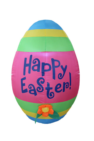 4 Foot Tall Inflatable Party Cute Colorful Easter Egg with Flower - Yard Blow Up Decoration