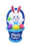 4 Foot Tall Inflatable Party Bunny with Basket and Colorful Easter Eggs - Yard Blow Up Decoration