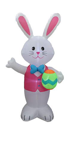 8 Foot Tall Easter Inflatable Blue Bow Tie Bunny with Pattern Easter Egg Yard Decoration