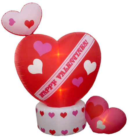 8 Foot Animated Valentine's Day Inflatable Hearts - Top Heart Rotates