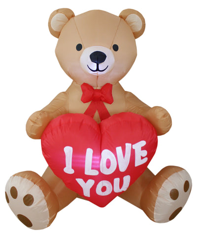 4 Foot Tall Valentine's Day Inflatable Teddy Bear with Love Heart Yard Blow Up Decoration