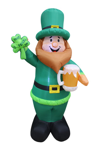 6 Foot Tall Lighted Inflatable St Patricks Day Leprechaun Holding Shamrock and Beer Cute Lucky Yard Art Decoration