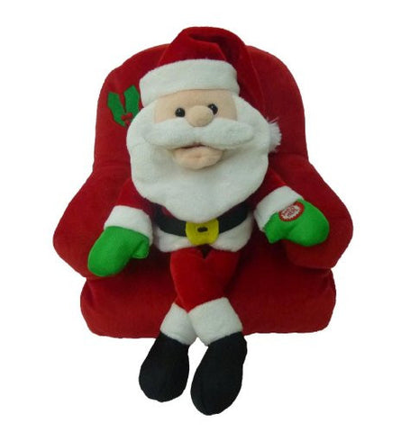 Singing Santa Claus on Sofa Polyester Musical Animatronic Plush Toy Christmas Collectible