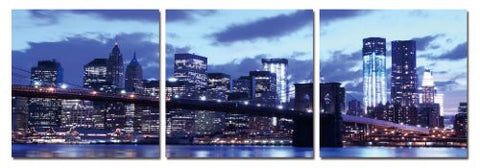 City View at Night, Gallery Wrapped Triptychs 3 Panel Modern Wall Art Decoration