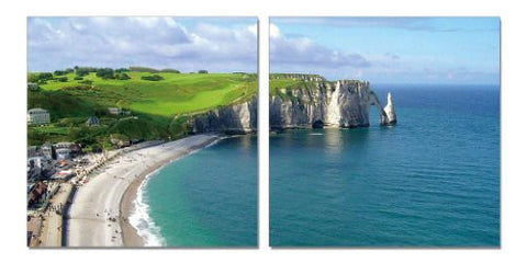 By the Sea, Gallery Wrapped Diptychs 2 Panel Modern Wall Art Decoration