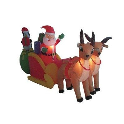 8.5 Foot Long Inflatable Santa Claus & Penguin on Sleigh Pulled by 2 Reindeer