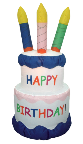 6 Foot Happy Birthday Cake with four candles