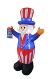 6 Foot Tall Patriotic American Independence Day Inflatable Uncle Sam with God Bless America Flag