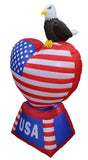 5 Foot Tall Patriotic Independence Day Inflatable Heart with American Flag and Eagle