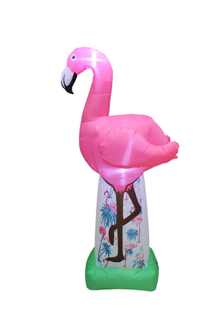 6 Foot Tall Lighted Inflatable Tropical Pink Flamingo Yard Decoration