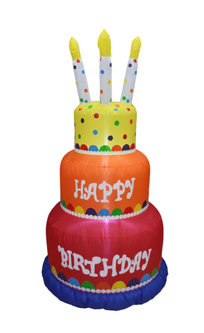 6 Foot Colorful Happy Birthday Cake with Candles