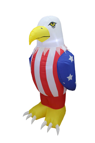 6 Foot Tall Patriotic Independence Day Inflatable Bald Eagle in American Flag Color