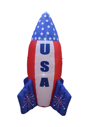 6 Foot Tall Patriotic Independence Day Inflatable American Flag Rocket Ship
