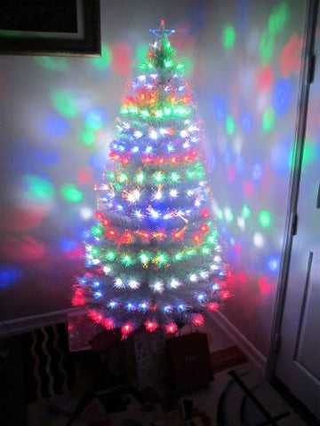5.5' Pre-lit White Artificial Fiber Optic Christmas Tree + Multicolor LED Lights
