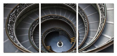 Spiral Stairway, Gallery Wrapped Triptychs 3 Panel Modern Wall Art  Decoration