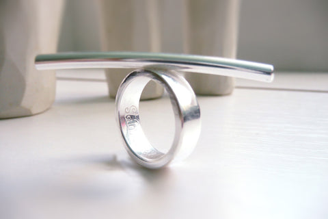 Minimalist contemporary modern sterling silver ring