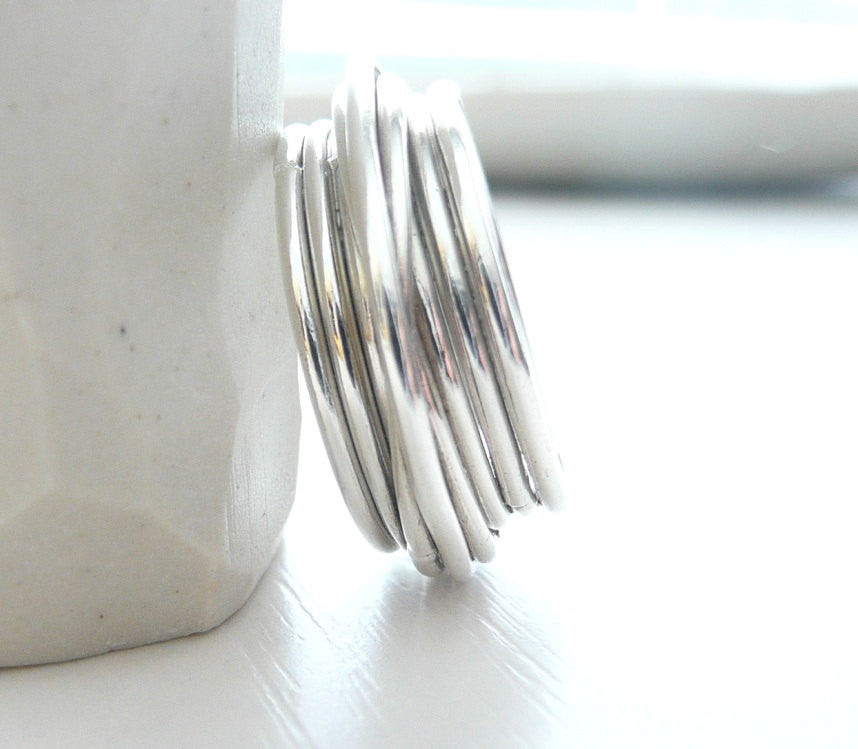 Modern Crossover Contemporary  Sterling Silver Ring