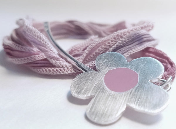 Daisy Flower Necklace, sterling Silver, Pink Resin, Pink Silk Ribbon, Hippie, Modern Boho Style