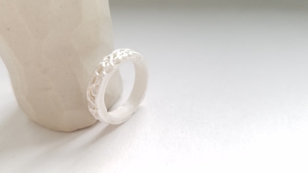 Sterling Silver Lace Pattern White Ring