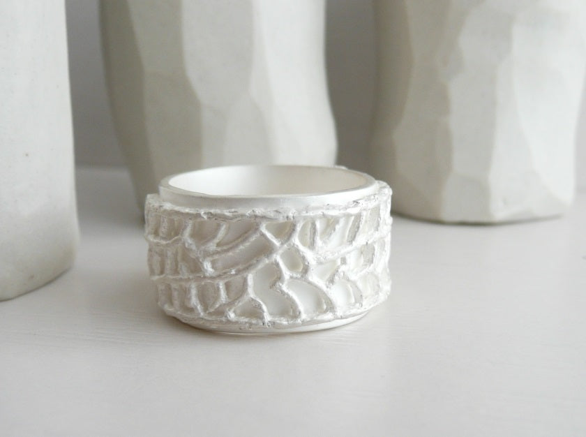 White Ring, Sterling Silver and White Patina