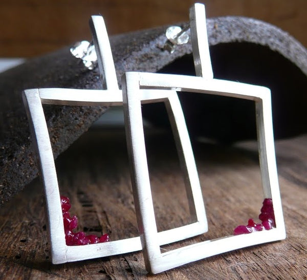 Broken Rubies Sterling Silver Earrings