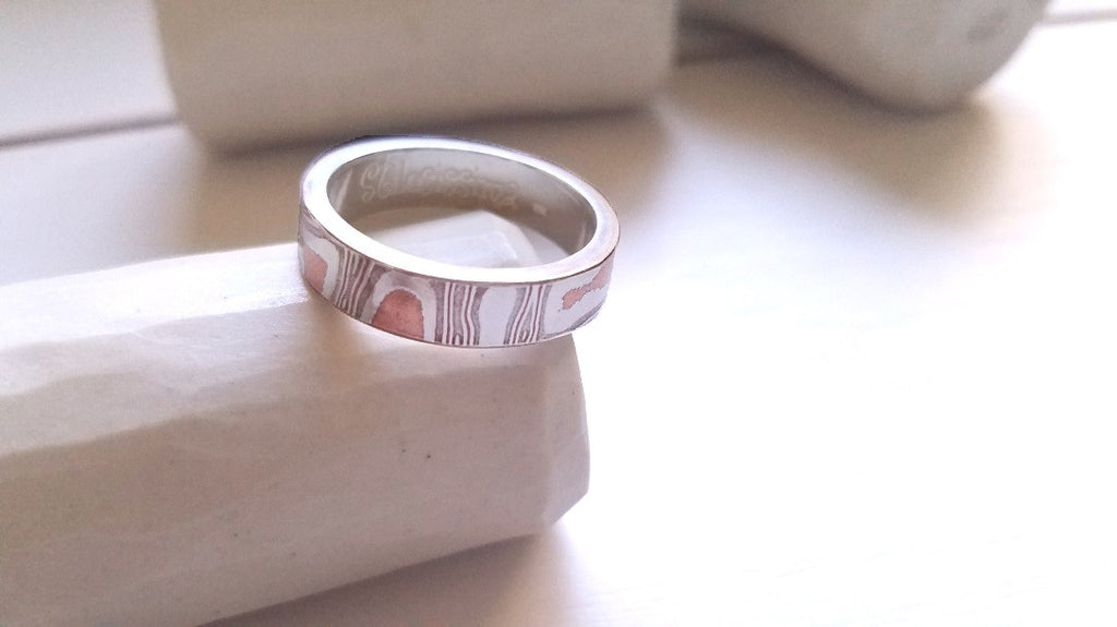 Mokume Gane Ring, Wedding Band, Sterling Silver, Argentium and Copper
