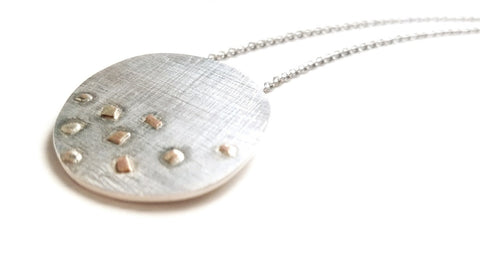 Moments Sterling Silver Necklace and irregular disc pendant with 14 k gold drops