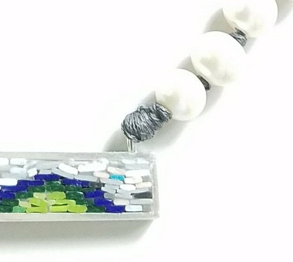 Micro Mosaic and Pearls Necklace with Sterling Silver 925