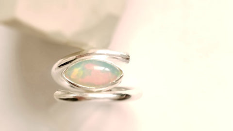 Opal Marquise Cut, Sterling Silver Ring, Natural Opal Ring, Modern