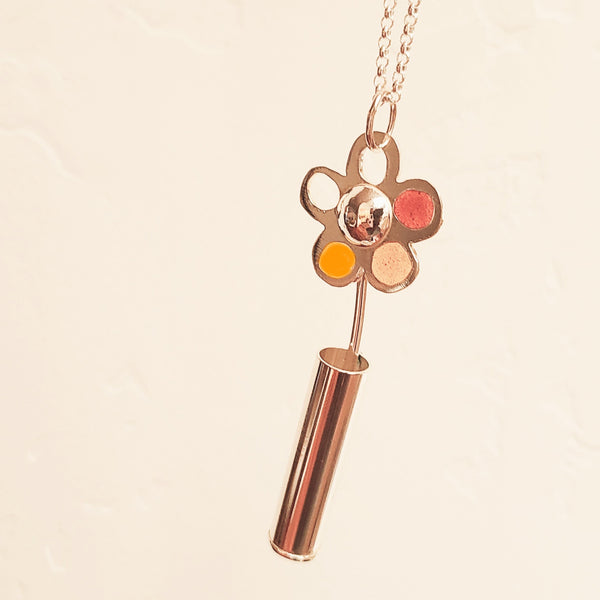 Sterling Silver Flower Necklace with Orange, Yellow and Red Resin