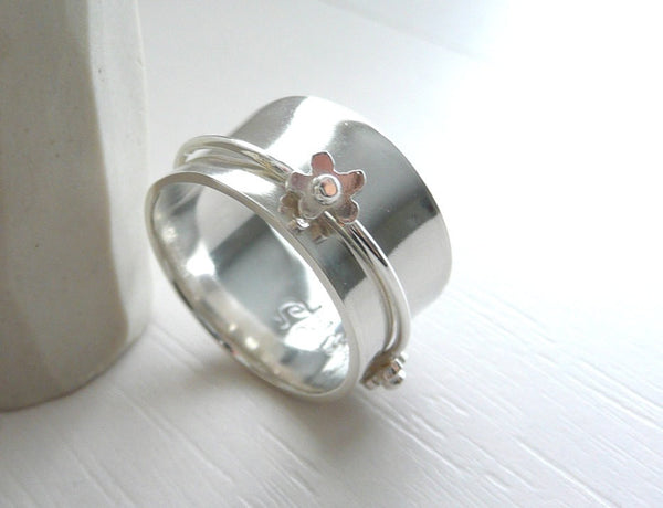 Romantic Daisy Flower Sterling Silver Spinner Ring
