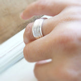 Sterling Silver Spinner Ring, Anxiety Ring, Worry Ring, Meditation Ring, Kinetic Ring, Rotating Ring,