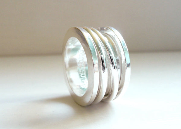 Spool Ring Sterling Silver Spinner